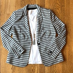 Gray & Black Striped Blazer